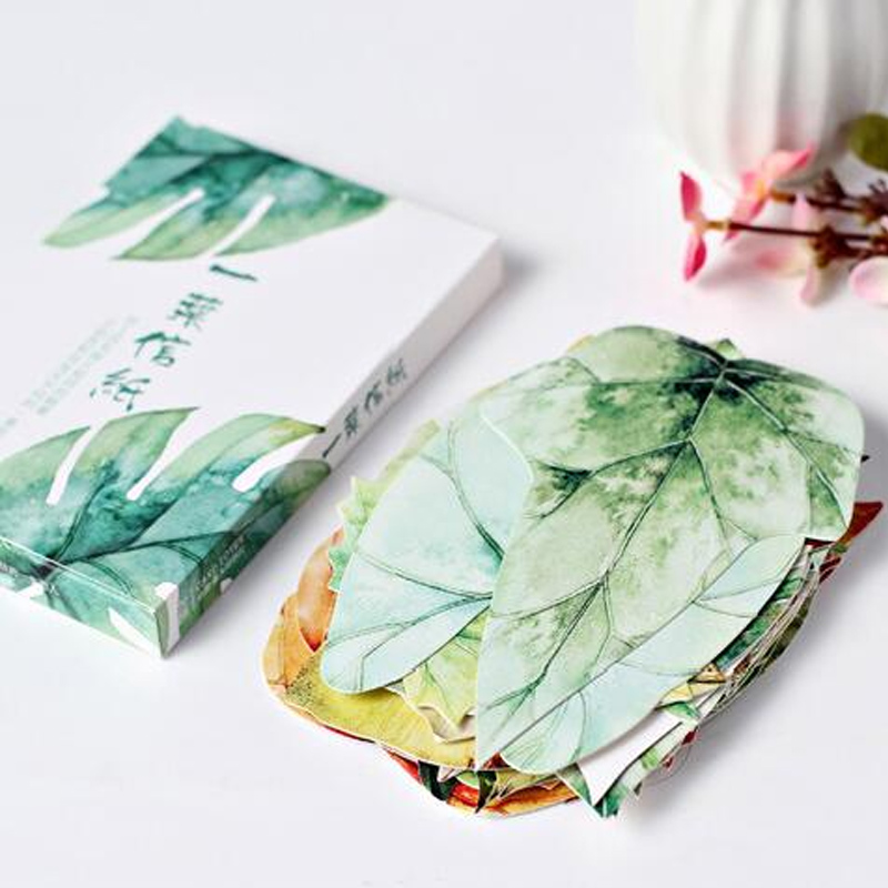 30 Pcs/pack Novelty Leaves  Heteromorphism Greeting Card Postcard Birthday Letter Envelope Gift Card Set Message Card