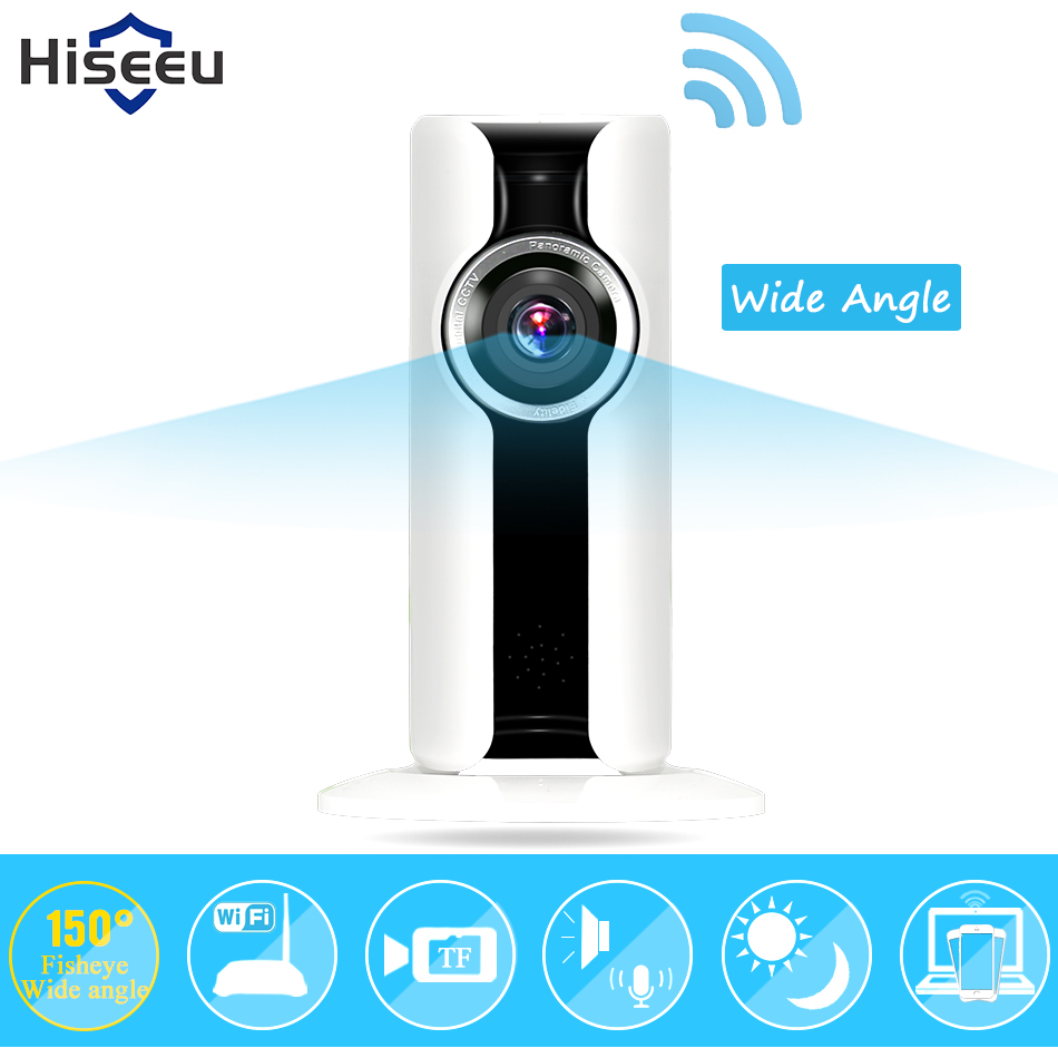 IP Camera WiFi Wireless fisheye Security Camera Micro SD Network Rotatable Defender Home Telecam HD Cctv IOS PC Hiseeu P9 pu aimetis ip camera wifi wireless network mini rotatable smart security camera defend for family hd cctv support android ios