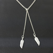 Wholesale New Vintage New Leaf Sweater Chain Necklace Long Necklaces Statement Jewelry For Women(China)