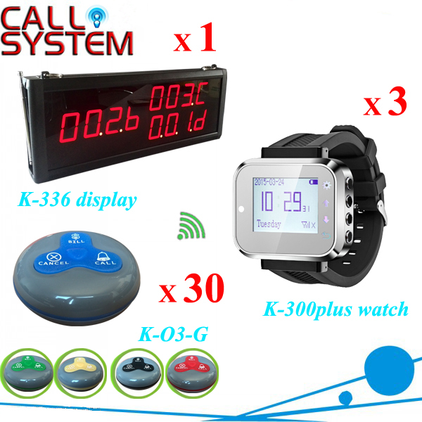 Wireless pager service calling system 1 monitor 3 wrist receiver 30 guest bell buzzer with CE wireless guest calling system for restaurant service bell full equipment with ce certification good 1 display 15 call button