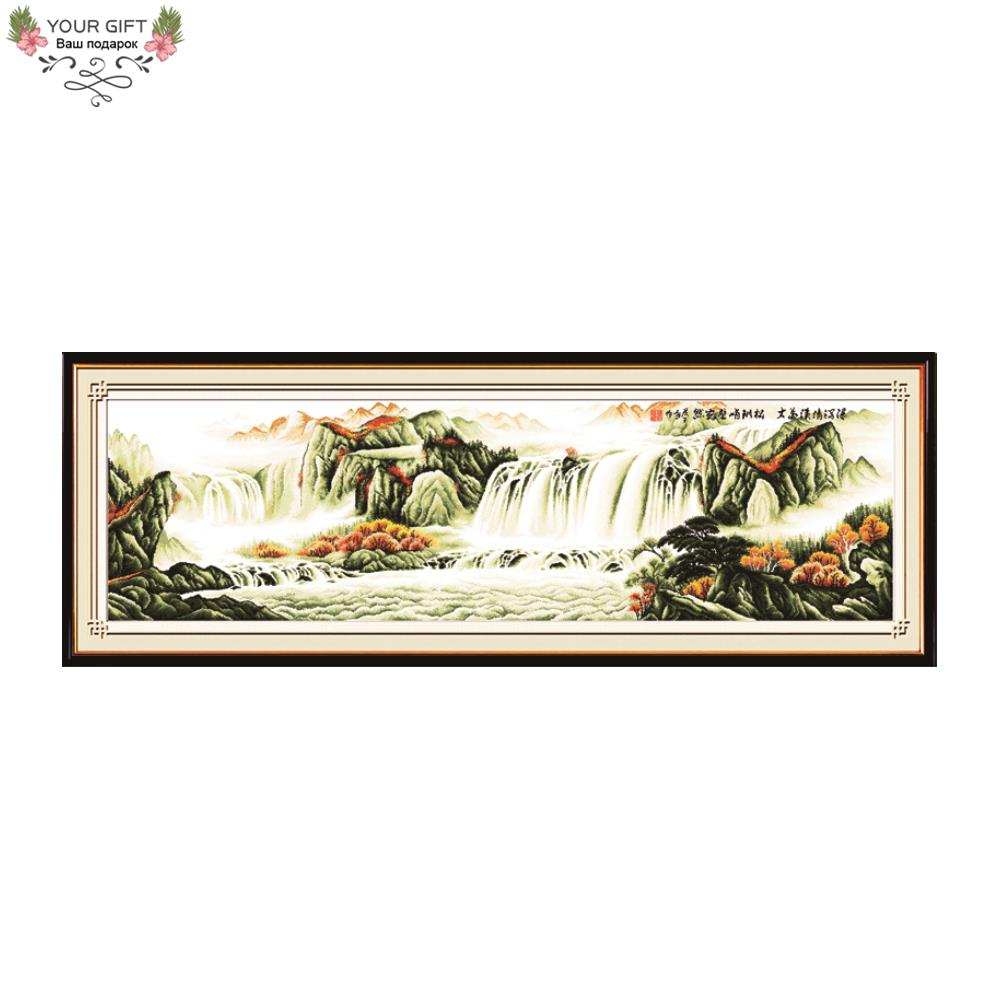 Joy Sunday F012 Free Shipping 14CT 11CT Counted and Stamped Home Decoration Magnificent Mountains And Rivers Cross Stitch Kits