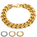 Personalize Size 14MM Stainless Steel Silver/Gold Tone Curb Cuban Link Chain Mens Boy Chain Bracelet Bulk Sale LKBM25