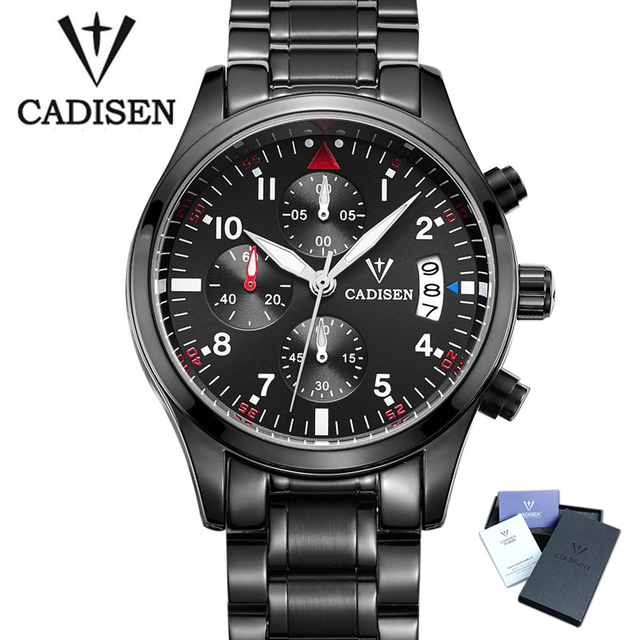 2017 CADISEN Famous Brand Black Casual Geneva Quartz Wrist Watch Men Stainless Steel XFCS Auto Date Male Clock Relogio Masculino 2018 new famous brand geneva mint green