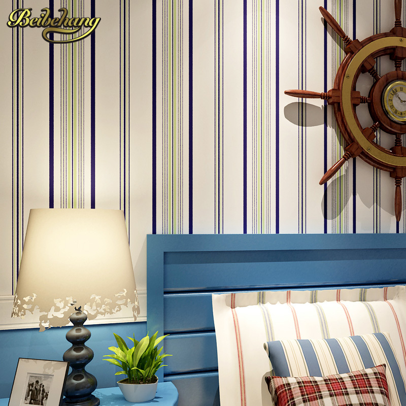 beibehang wall paper color Wide vertical stripes bedroom living room Mediterranean-style low-minimalist backdrop wallpaper beibehang wallpaper vertical stripes 3d children s room boy bedroom mediterranean style living room wallpaper