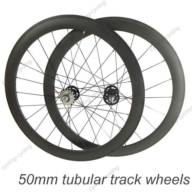Fixed Gear 50mm Tubular Carbon Track Wheels Single Speed Carbon Road Bike Track Wheels
