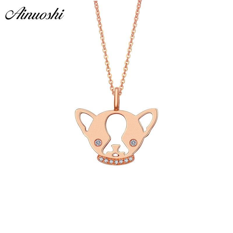 Ainuoshi Симпатичные 18 К розового золота с бриллиантами кулон Для женщин 0.026ct бриллиантами Товары для собак головы Подвески для Цепочки и ожере