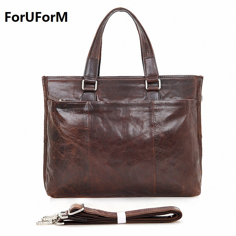 Genuine Leather Men Bags Business Laptop Tote Bag Briefcase Men Cross body Handbag Shoulder Messenger Men's Travel Bags LI-1545