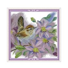Joy Sunday Cross Stitch Fabric Print on Canvas with a Pattern for Embroidery 14ct 11ct DMC Floss DIY Needlework Set