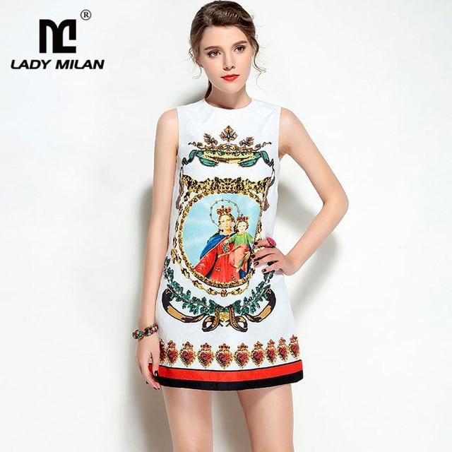 New Arrival 2018 Spring Summer Women's O Neck Sleeveless Vintage Printed Beaded A Line Short Casual Dobby Designer Dresses