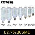 1 unids E27 E14 5730 5630 SMD LED del maíz del bulbo AC 220 V AC 110 V 7 W 12 W 15 W 25 W 30 W 40 W 50 W alto luminoso llevado proyector llevado lámpara de luz