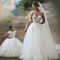 Summer Style Family Matching Mother Daughter Long Maxi Wedding Dress Lace Mom and Daughter Dresses baby girl Bridesmaid Dress