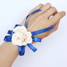 Wrist Corsage Wedding Ivory Artificial Flowers Bridesmaid Silk Accessories Decoration Handmade SW004