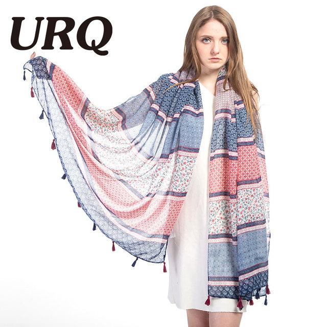 Women Long Tassels Scarf Woman print Flower foulard colorful Bohemia style Tassels Shawls hijab Sping 2017 Brand Design