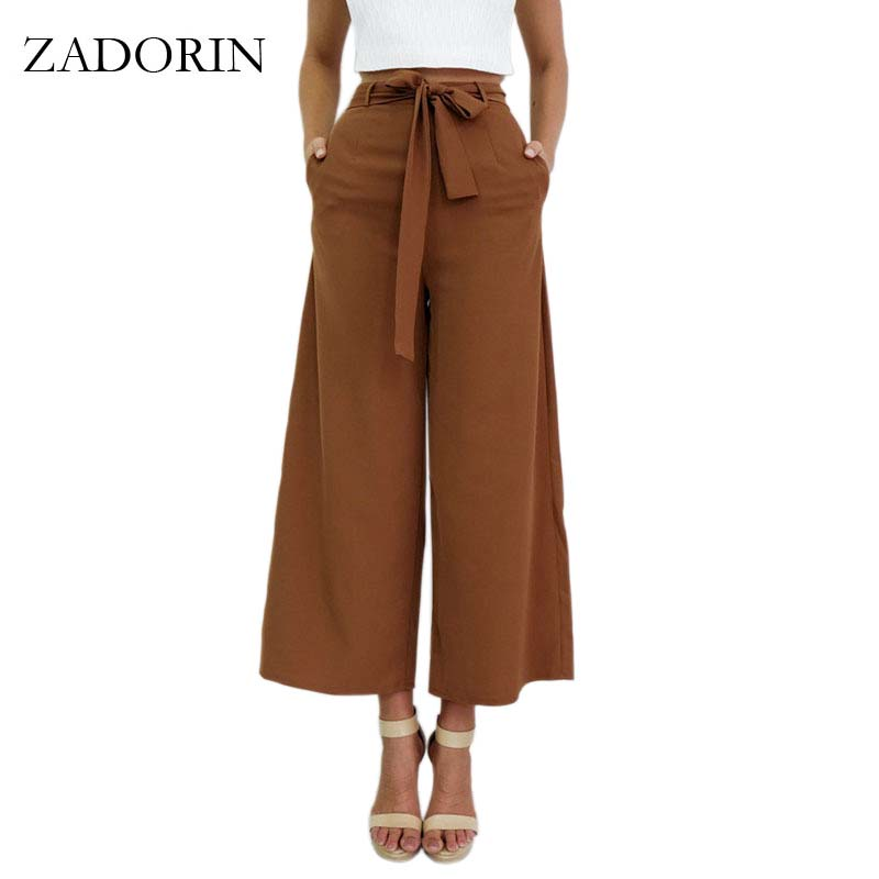 ZADORIN New Fashion Loose Casual Bow Tie High Waist   Wide     Leg     Pants   Solid Black Brown Trousers Women Steetwear Palazzo   Pants