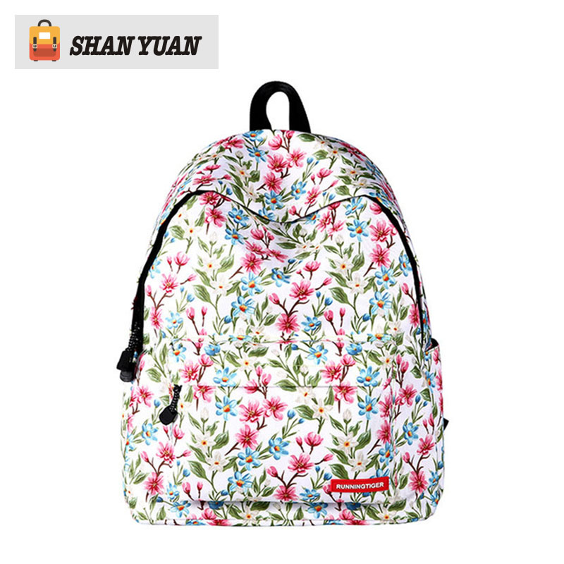 Fashion Polyester Women Backpack Flower Printing College School Bag For Teenager Girl Ladie Book bag Mochila