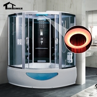 1500mm Whirlpool Steam Shower Massage Bath Corner Cabin Cubicle Enclosure Room Glass Sliding Doors Walking In