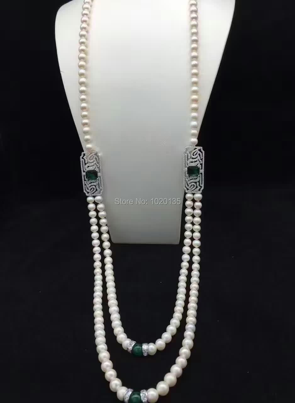 Collier 2 rangées de perles d'eau douce près de rund 8-9mm et pendentif rond en pierre verte FPPJ
