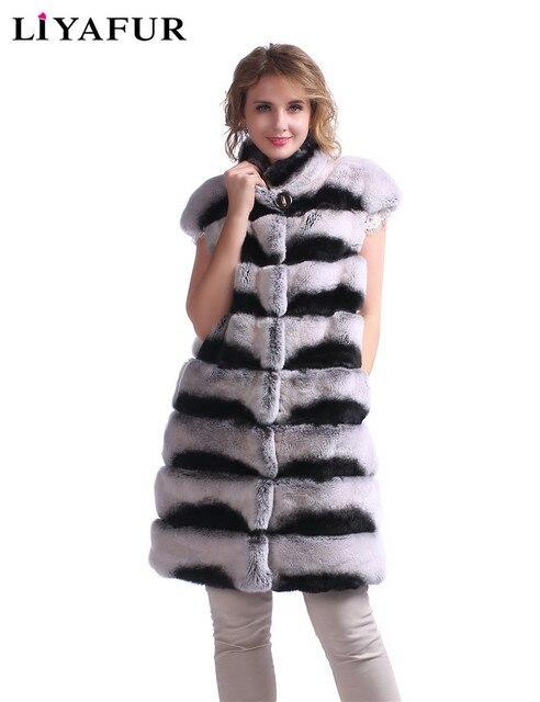 LIYAFUR New Fashion Vest Real Genuine Rex Rabbit Chinchilla Fur Waistcoat For Women Long Luxury Warm Gilet with Stand Collar