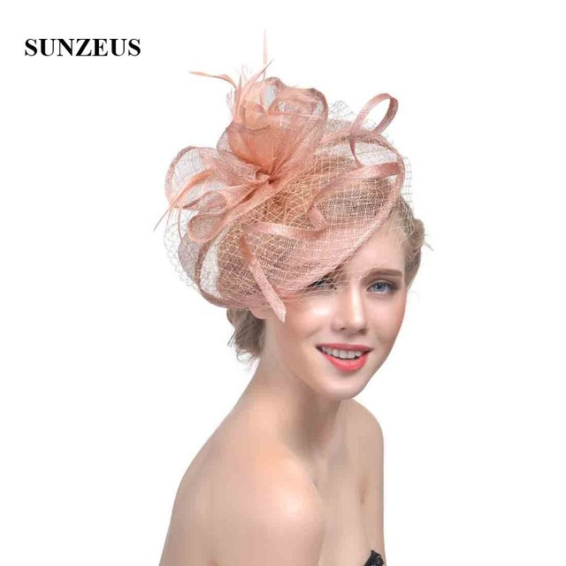 aa7316e9 Champagne Women Hats Face Veil Bridal Feathers Wedding Hats 2019 Newly  Linen Fascinators Tulle Women Party Hair Accessories SH32