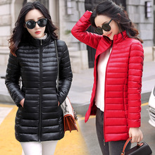 Autumn Winter Women Basic Jacket Coat Female Slim Hooded Brand Cotton Coats Casual Female Medium-Long Jackets Jaqueta Feminina cheap Acetate Polyester Solid zipper Wide-waisted Thin (Summer) Full Sustans dql-1 Broadcloth Pockets 0 3-0 4kg TECHOME M L XL XXL XXXL 4XL