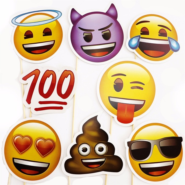 8pcs Emoji Photo Booth Props Funny Mask Birthday Party Decoration Kids Favors Photobooth Prop Wedding Event