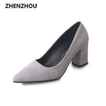 Zapatos de las mujeres eran delgadas de tacón alto espesor con la punta de conjuntos de gamuza zapatos de un solo zapatos de la boca baja zapatos de trabajo zapatos 7 cm