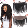7A Mongolian Kinky Curly Frontal 100% Human Hair Lace Frontal Closure Ear to Ear 13x4 Lace Frontal With Baby Hair Bleached Knots