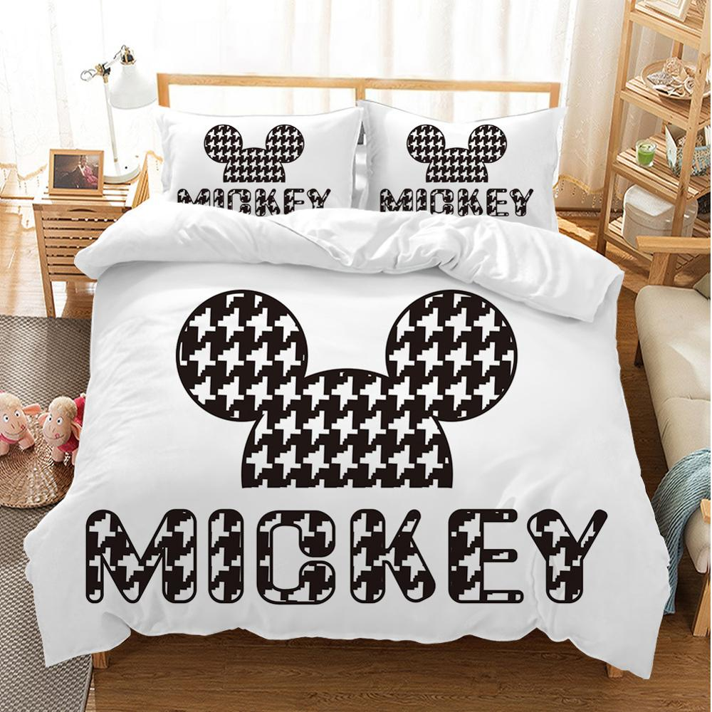 Image 3 - Disney Cartoon Mickey Minnie  Bedding Set Lovely Couple Queen King Size Bedding Set Children Duvet Cover Pillow Cases-in Bedding Sets from Home & Garden