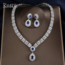 RAKOL White Gold Color Luxury Bridal CZ Crystal Necklace and Earring Set Big Water Drop  Wedding Jewelry Sets For Brides xt qu gold color jewelry set austrian crystal big necklace and drop earring wedding jewelry sets for bridal free shipping
