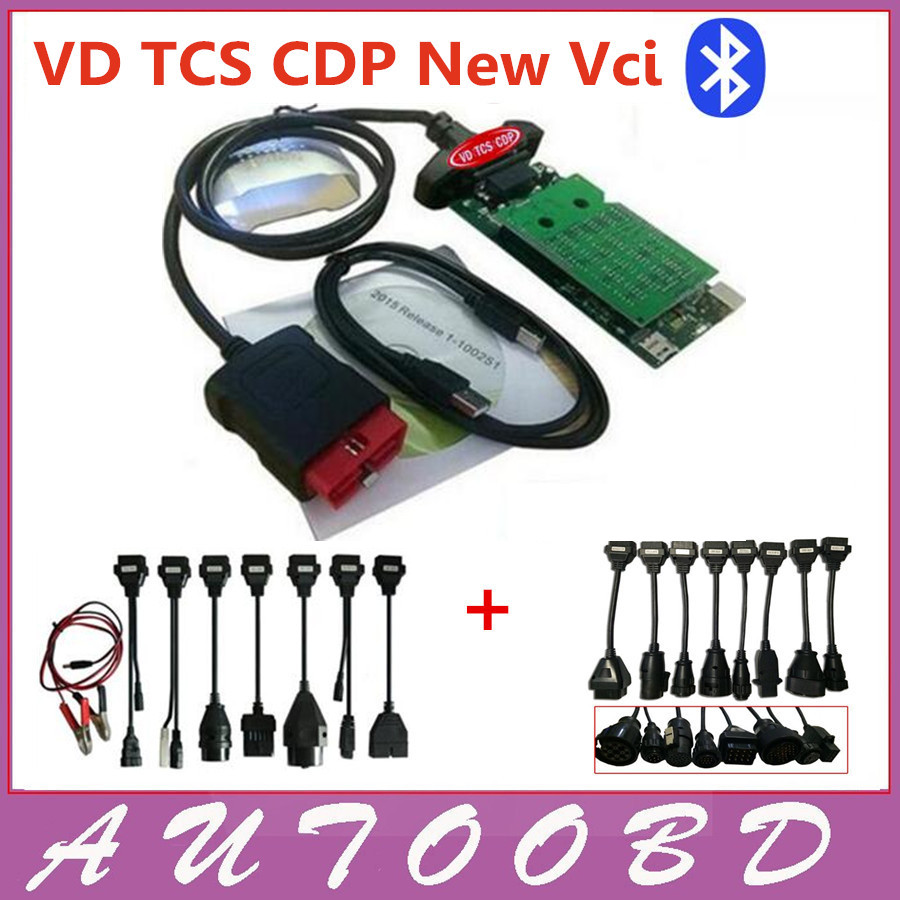 Double Green Board PCB 8.0 VD TCS CDP Bluetooth 2014.R2 Keygen/2015 R1 CDP Scanner+8car cables+8truck cables -DHL Freeshipping single green board multidiag pro 2014 r2 keygen
