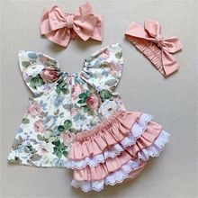 US Toddler Kid Baby Girl Floral Shirt Tops Lace Ruffle Short