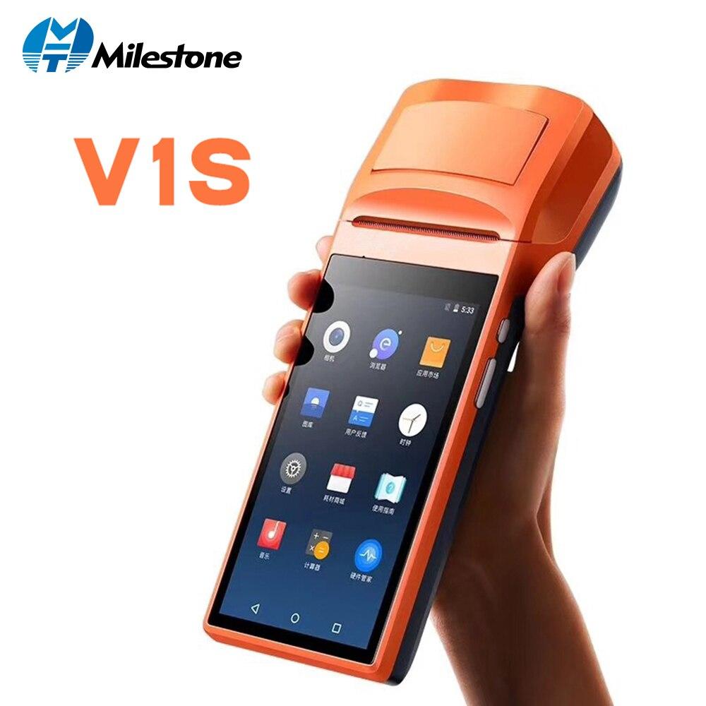 Milestone MHT-V1s Сенсорный экран Bletooth WI-FI GPRS POS машина Завод прямых продаж USB SIM Android pos-терминал с принтером