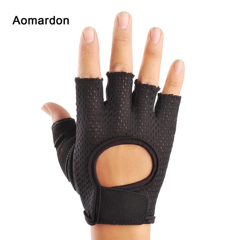 Aomardon Men & Women Half Finger Fitness Gloves Sports Bodybuilding Training Wrist Gloves Gym Dumbbell Fitness Exercise body building sports cyling half finger gloves for women black red