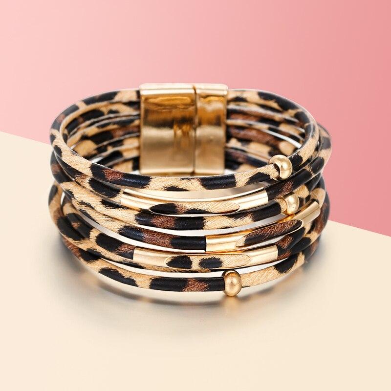 Armbänder & Armreifen Amorcome Leder Armbänder Für Frauen 2019 Mode Essigsäure Acryl Herz Charme Doppel Wrap Multilayer Armband Weiblichen Schmuck