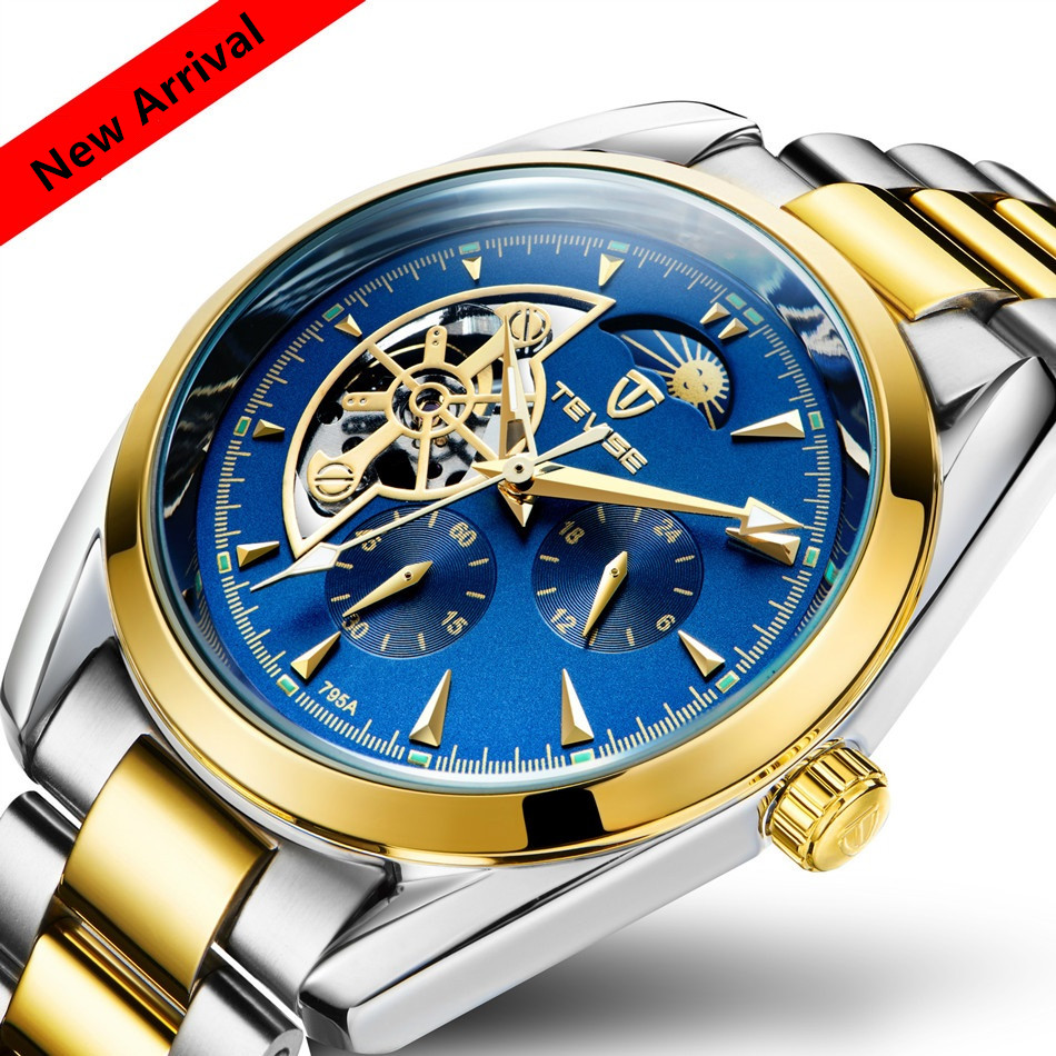 Luxury Brand TEVISE Automatic Mechanical Watches Moon Phase Gold Men Watches Steel Clock Mens Wristwatches Relogio Masculino tevise men automatic self wind mechanical wristwatches business stainless steel moon phase tourbillon luxury watch clock t805d
