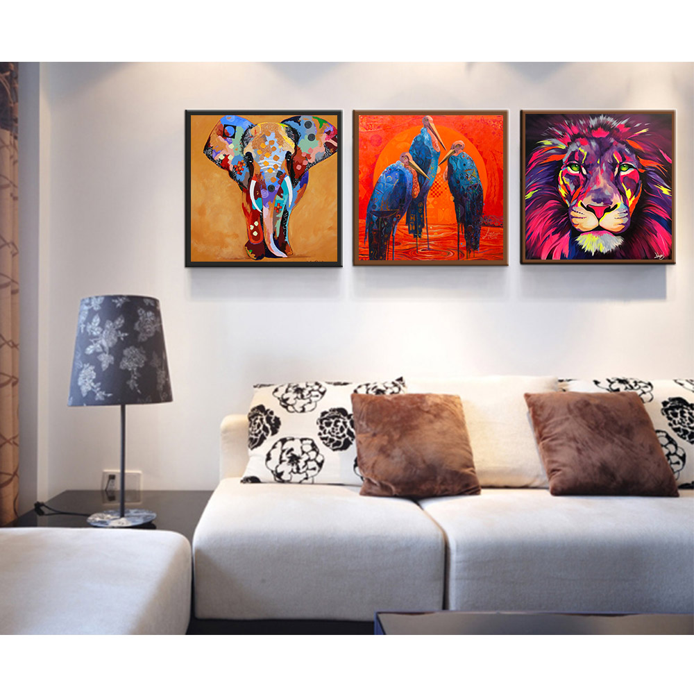 Modern Cute Animal Canvas Oil Painting Picture Prints Home Kids Room Decor Gift