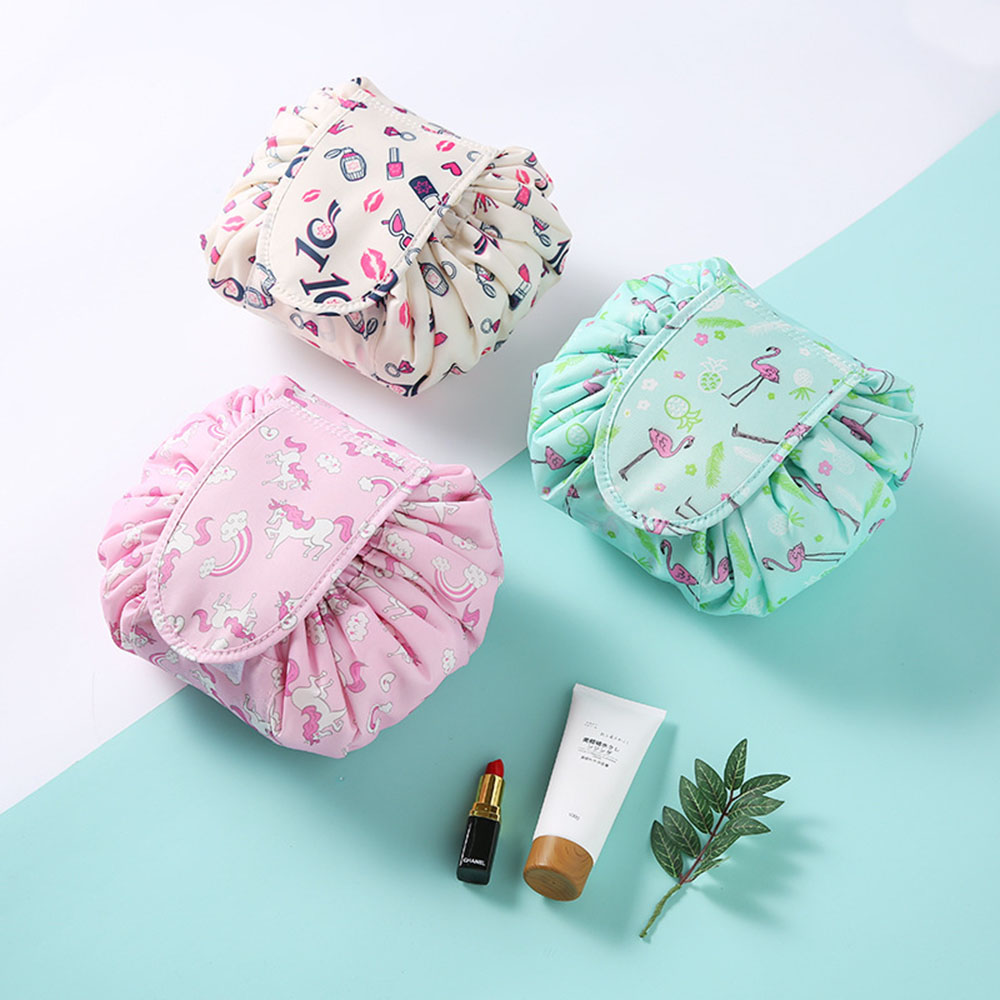 Printing Design Cosmetic Bag Drawstring Makeup Case Women Travel Make Up Organizer Storage Pouch Toiletry Wash Kit 2018 for Lady(China)