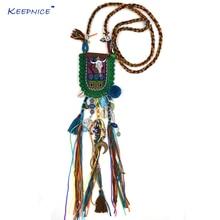 New Bohemia Ethnic Pompoms pendants Necklace handmade long fringe tassel buffalo head skull tauren Pendants Necklace