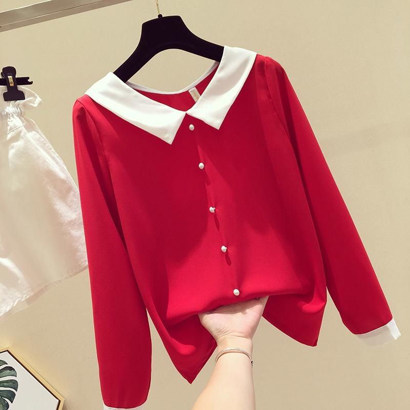 Women Spring Summer Cute Chiffon   Blouses     Shirts   Lady Casual Peter pan Collar Long Sleeve Beading Blusas Tops DF2213