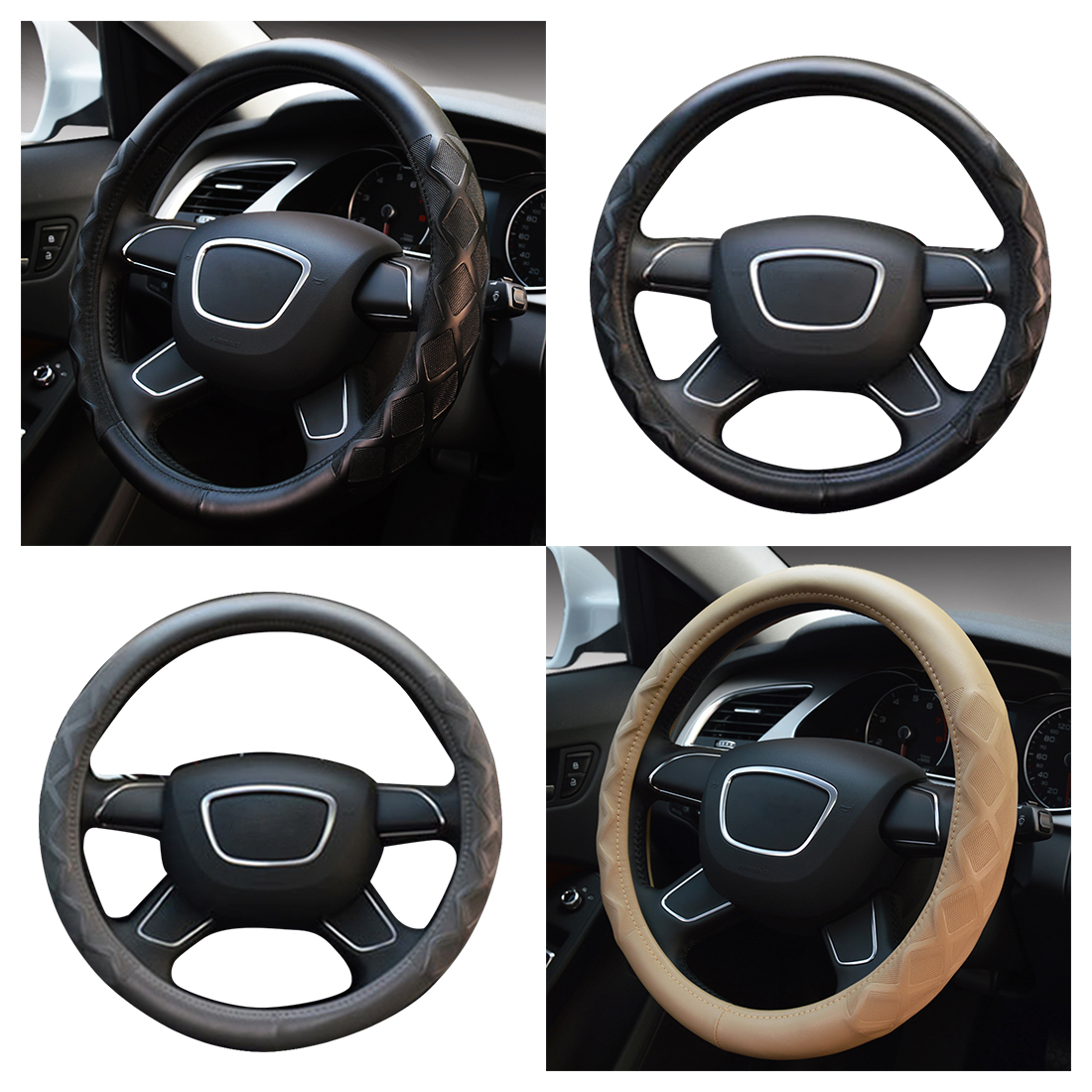 Dewtreetali 38cm Luxury Car Steering Wheel Cover Embossing Steering-wheel Protector Auto Interior Accessories Black Beige
