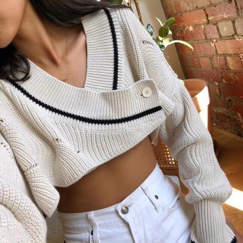 Tricoter Apricot V Sexy Crop Cardigan Chauve Femelle Femmes menkay Vêtements Cou Tops Mode Manches Sweater Casual Automne souris Manteau Chandail 2018 À 5PRxqdqX