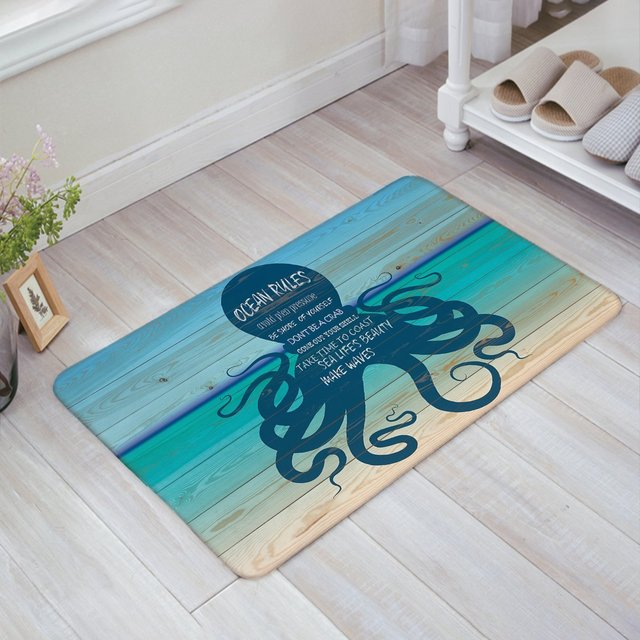 Ocean Rules with Navy Octopus Print Doormat Welcome Mat Entrance ...
