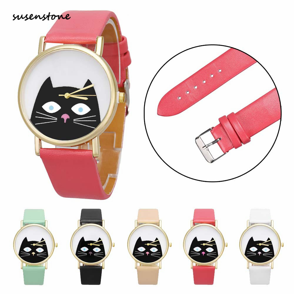 Susenstone 2018 Fashion Women Watch Lovely Cat Women Leather Quartz WristWatch Ladies Watch Clock Relogio Feminino saat erkekler