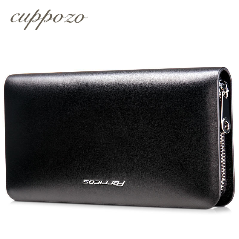 Cuppozo New Fashion Men Wallet Genuine Leather Purse and Handbags for Male Luxury Brand Black Zipper Men Clutches Free Shipping