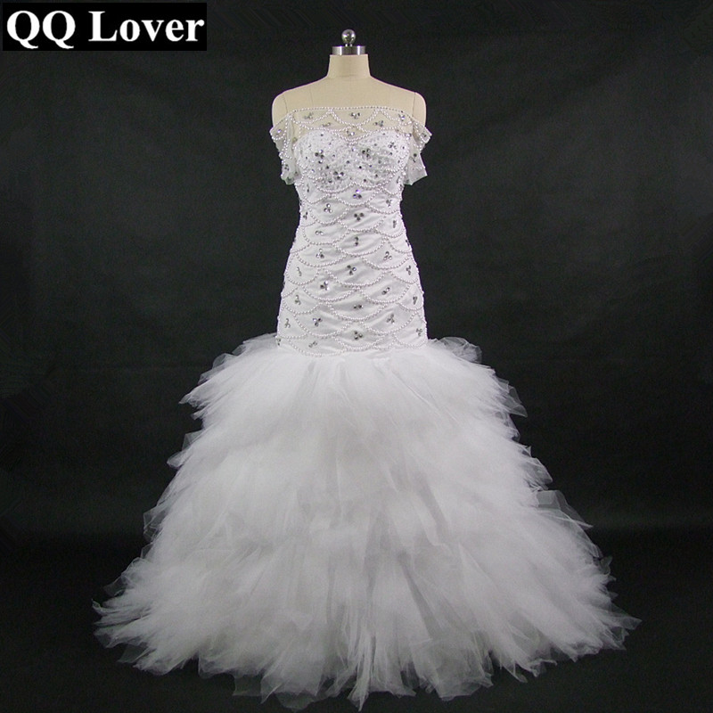QQ Lover 2018 New African Mermaid Lace Wedding Dress With