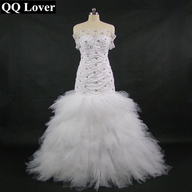QQ Lover 2018 Mermaid Wedding Dress With Video Custom made Plus Size ...