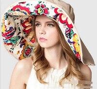 Gute qualität krempe kann entfernt 2017 Mode-Design Blume faltbare Krempe Sonnenhut Sommer Hüte für Frauen UV Schutz AB022