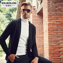 Enjeolon brand Autumn Winter Sweater Men slim fit Turn-Down Collar Knitted Cardigan solid Black Sweater Knitwear coat pull homme