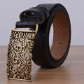 Hollow Designers Luxury Flower Female Strap Brand Genuine Leather Floral Carved Dress Belts for Women Cowskin for Jeans Black