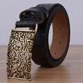 Hueco Correa de Cuero Genuino de la Marca Diseñadores de Lujo de la Flor Femenina Floral Tallado Vestido de Cinturones para Las Mujeres de piel de Vaca para Los Pantalones Vaqueros Negro